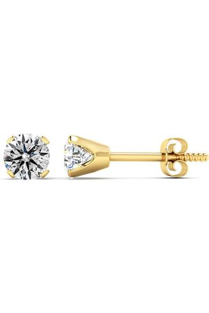 Hansa Nearly 3/4 Carat Stud Colorless Diamond Earrings in 14K (1.2 Grams) (E-F Color, I2 Clarity Enhanced) by