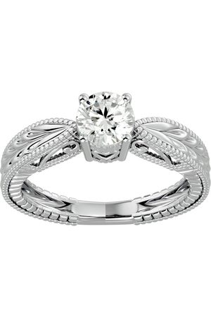 SuperJeweler 3/4 Carat Diamond Solitaire Engagement Ring w/ Tapered Etched Band in 14K (4 g) (H-I, SI2-I1), Size 4