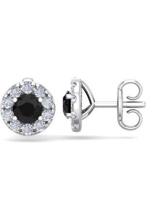 SuperJeweler Women Earrings - 1.5 Carat Black Diamond Halo Stud Earrings in 14K (2 g), I/J