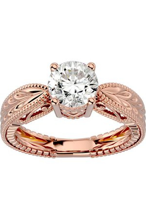 SuperJeweler 1.5 Carat Moissanite Solitaire Engagement Ring w/ Tapered Etched Band in 14K Rose (5.20 g), E/F, Size 4