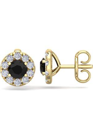 SuperJeweler 1.5 Carat Black Diamond Halo Stud Earrings in 14K (2 g), I/J