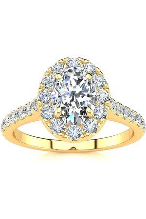 SuperJeweler 1 Carat Oval Shape Halo Diamond Engagement Ring in 14K (4.50 g) (I-J, I1-I2 Clarity Enhanced), Size 10