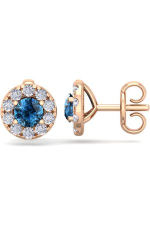 SuperJeweler 1.5 Carat Blue Diamond Halo Stud Earrings in 14K Rose (2 g), I/J