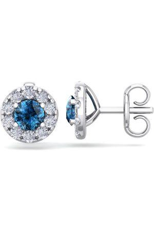 SuperJeweler 1.5 Carat Blue Diamond Halo Stud Earrings in 14K (2 g), I/J