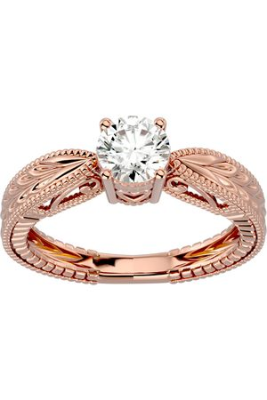 SuperJeweler 3/4 Carat Moissanite Solitaire Engagement Ring w/ Tapered Etched Band in 14K Rose (4 g), E/F, Size 4