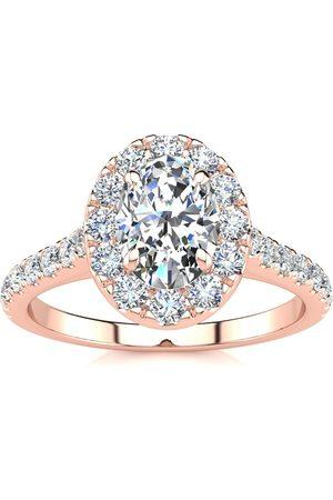 SuperJeweler 1.5 Carat Oval Shape Halo Moissanite Engagement Ring in 14k Rose (4.50 g), E/F, Size 10