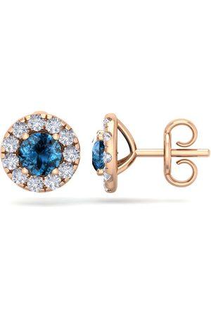 SuperJeweler 2.5 Carat Blue Diamond Halo Stud Earrings in 14K Rose (2.60 g), I/J