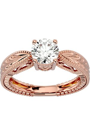 SuperJeweler 1 Carat Moissanite Solitaire Engagement Ring w/ Tapered Etched Band in 14K Rose (4.50 g), E/F, Size 4