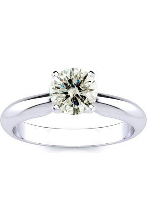 SuperJeweler 1.10 Carat Diamond Solitaire Engagement Ring in Platinum (J-J, I2 Clarity Enhanced), I-J, Size 10