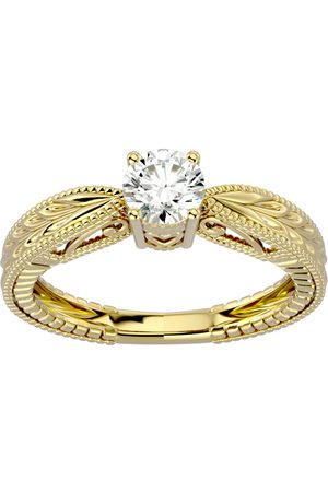 SuperJeweler Women Rings - 1/2 Carat Moissanite Solitaire Engagement Ring w/ Tapered Etched Band in 14K (3.80 g), E/F, Size 4