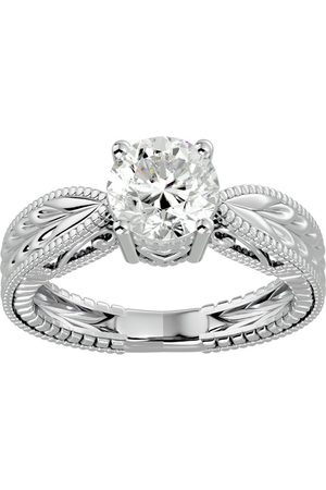 SuperJeweler 1.5 Carat Diamond Solitaire Engagement Ring w/ Tapered Etched Band in 14K (5.20 g) (I-J, I1-I2 Clarity Enhanced), Size 4