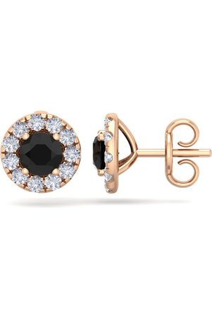 SuperJeweler Women Earrings - 2.5 Carat Black Diamond Halo Stud Earrings in 14K Rose (2.60 g), H/I