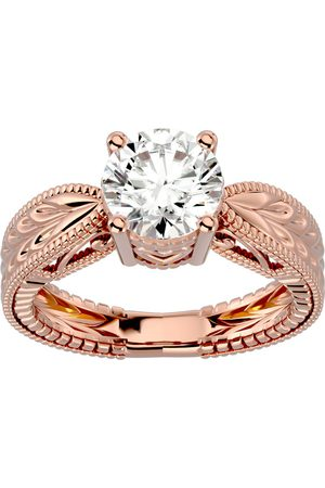SuperJeweler 2 Carat Moissanite Solitaire Engagement Ring w/ Tapered Etched Band in 14K Rose (5.90 g), E/F, Size 4