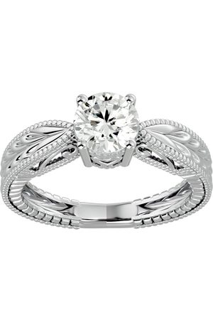 SuperJeweler 1 Carat Moissanite Solitaire Engagement Ring w/ Tapered Etched Band in 14K (4.50 g), E/F, Size 4