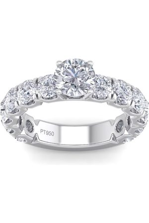 SuperJeweler 3 1/2 Carat Round Shape Diamond Engagement Ring in Platinum (H-I, I2 Clarity Enhanced), Size 10