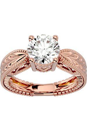 SuperJeweler 2 Carat Diamond Solitaire Engagement Ring w/ Tapered Etched Band in 14K Rose (5.90 g) (I-J, I1-I2 Clarity Enhanced), Size 4