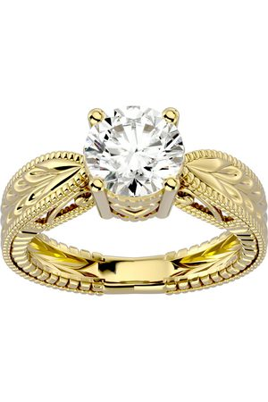 SuperJeweler 2 Carat Diamond Solitaire Engagement Ring w/ Tapered Etched Band in 14K (5.90 g) (H-I, SI2-I1), Size 4