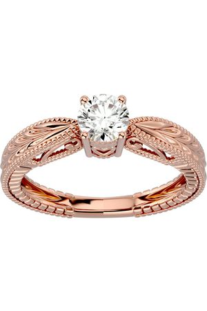 SuperJeweler 1/2 Carat Moissanite Solitaire Engagement Ring w/ Tapered Etched Band in 14K Rose (3.80 g), E/F, Size 4