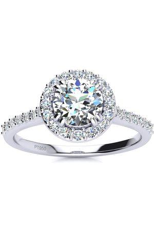 SuperJeweler 1 Carat Round Halo Diamond Engagement Ring in Platinum (I-J, I1-I2 Clarity Enhanced), Size 10