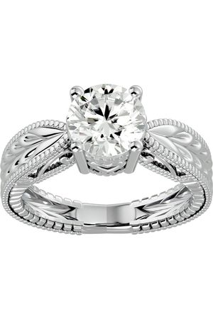 SuperJeweler 2 Carat Moissanite Solitaire Engagement Ring w/ Tapered Etched Band in 14K (5.90 g), E/F, Size 4