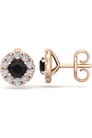 SuperJeweler 1.5 Carat Black Diamond Halo Stud Earrings in 14K Rose (2 g), I/J