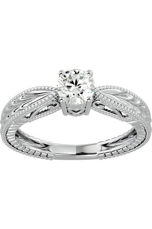 SuperJeweler 1/2 Carat Diamond Solitaire Engagement Ring w/ Tapered Etched Band in 14K (3.80 g) (H-I, SI2-I1), Size 4