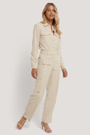 NA-KD Multi Pocket Suit Pants - Beige