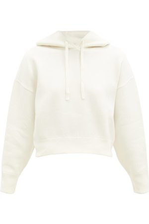 VALENTINO Cropped Knitted Hooded Sweatshirt - Womens - Ivory