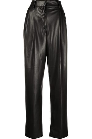 Msgm Faux-leather pleated trousers