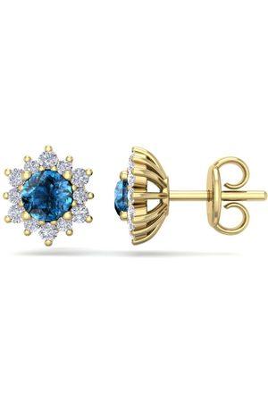 SuperJeweler 1 Carat Round Shape Flower Blue Diamond Halo Stud Earrings in 14K (1.80 g), I/J