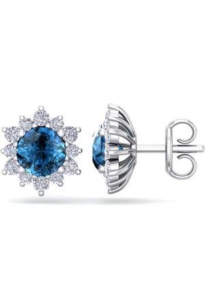 SuperJeweler 2 Carat Round Shape Flower Blue Diamond Halo Stud Earrings in 14K (2.20 g), I/J