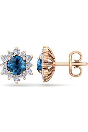 SuperJeweler Women Earrings - 1.5 Carat Round Shape Flower Blue Diamond Halo Stud Earrings in 14K Rose (2 g), I/J
