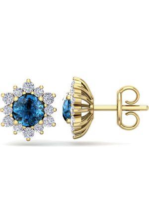 SuperJeweler Women Earrings - 1.5 Carat Round Shape Flower Blue Diamond Halo Stud Earrings in 14K (2 g), I/J