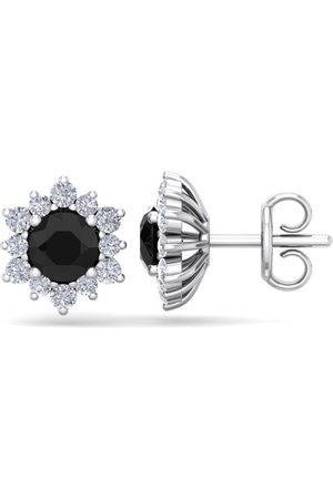 SuperJeweler 1.5 Carat Round Shape Flower Black Diamond Halo Stud Earrings in 14K (2 g), I/J