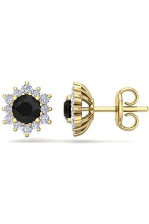 SuperJeweler 1 Carat Round Shape Flower Black Diamond Halo Stud Earrings in 14K (1.80 g), I/J