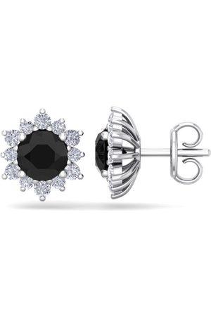 SuperJeweler 2 Carat Round Shape Flower Black Diamond Halo Stud Earrings in 14K (2.20 g), I/J