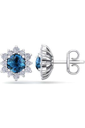 SuperJeweler 1.5 Carat Round Shape Flower Blue Diamond Halo Stud Earrings in 14K (2 g), I/J
