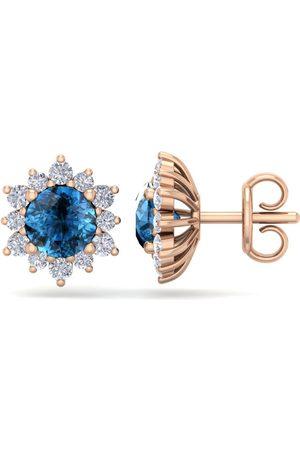 SuperJeweler 2 Carat Round Shape Flower Blue Diamond Halo Stud Earrings in 14K Rose (2.20 g), I/J