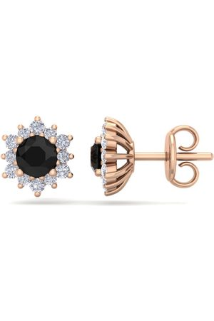 SuperJeweler 1 Carat Round Shape Flower Black Diamond Halo Stud Earrings in 14K Rose (1.80 g), I/J