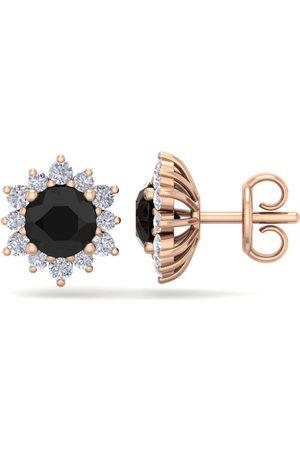 SuperJeweler 2 Carat Round Shape Flower Black Diamond Halo Stud Earrings in 14K Rose (2.20 g), I/J