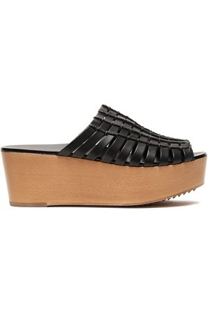 Rick Owens Woman Leather And Cord Woven Platform Sandals Size 37.5