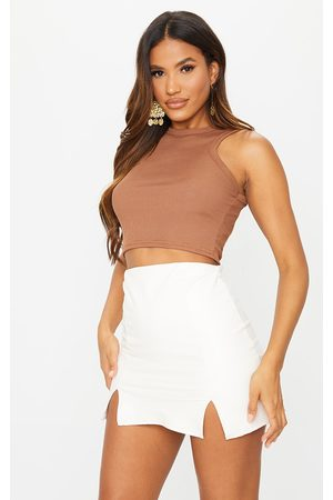 PRETTYLITTLETHING Cream Faux Leather Split Hem Mini Skirt