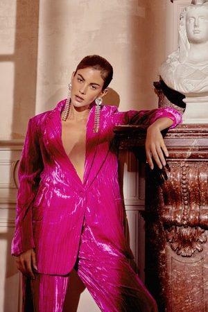 NASTY GAL Womens Velvet V Neck Oversized Blazer