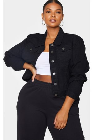 PRETTYLITTLETHING Women Denim Jackets - Plus Cropped Denim Jacket