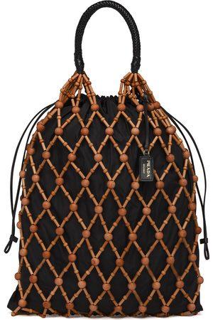 Prada Wood mesh tote bag