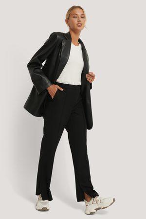 NA-KD Side Slit Tailored Pants - Black