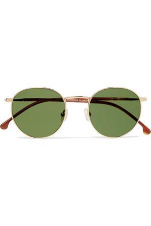 Loro Piana Weekend Round-Frame -Tone Titanium and Acetate Polarised Sunglasses