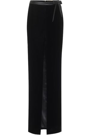Saint Laurent Velvet and satin maxi skirt