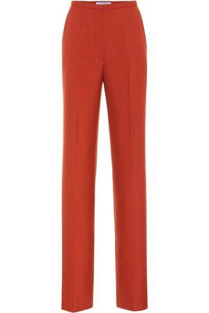Prada High-rise straight wool pants