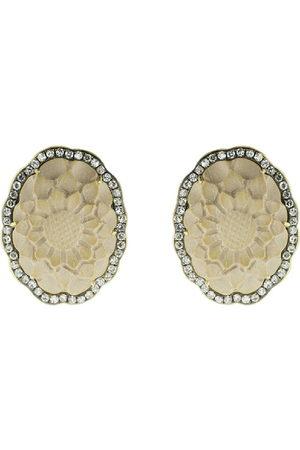Sylva & Cie 18kt yellow gold diamond flower stud earrings - YLWGOLD